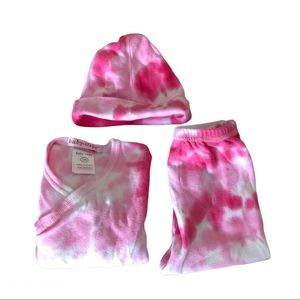 Baby Steps Pink Tie Dye Outfit Top Bottom Cap Baby